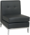 Ave Six Wall Street Faux Leather Armless Lounge Chair - Black [WST51N-B18-FS-OS]