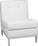 Ave Six Wall Street Faux Leather Armless Lounge Chair - White [WST51N-W32-FS-OS]
