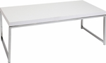 Ave Six Wall Street Wood Veneer Top Coffee Table with Chrome Finished Steel Base - White [WST12-WH-FS-OS]