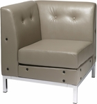 Ave Six Wall Street Faux Leather Corner Chair with Chrome Base and Legs - Smoke [WST51C-U22-FS-OS]
