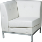 Ave Six Wall Street Faux Leather Corner Chair with Chrome Base and Legs - White [WST51C-W32-FS-OS]
