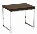 Ave Six Wall Street Wood Veneer End Table with Chrome Finished Steel Base - Espresso [WST09-FS-OS]