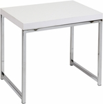 Ave Six Wall Street Wood Veneer End Table with Chrome Finished Steel Base - White [WST09-WH-FS-OS]