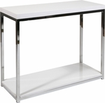 Ave Six Wall Street Wood Veneer Foyer Table with Chrome Finished Steel Base - White [WST07-WH-FS-OS]