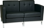 Ave Six Wall Street Faux Leather Modular Loveseat with Chrome Finish Base - Black [WST51-LOVE-B18-FS-OS]