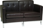 Ave Six Wall Street Faux Leather Modular Loveseat with Chrome Finish Base - Espresso [WST51-LOVE-E34-FS-OS]