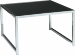 Ave Six Yield 28'' Tempered Glass Accent or Corner Table with Chrome Finished Steel Base [YLD17-FS-OS]