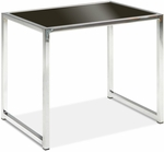 Ave Six Yield Tempered Glass End Table with Chrome Finished Steel Base - Black [YLD09-FS-OS]