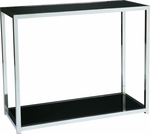 Ave Six Yield Tempered Glass Foyer Table with Chrome Finished Steel Base - Black [YLD07-FS-OS]