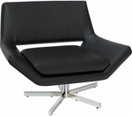 Ave Six Yield 40'' Wide Faux Leather Chair with Chrome Finish Steel Base - Black [YLD5141-B18-FS-OS]