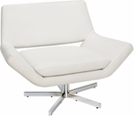 Ave Six Yield Faux Leather Wide Chair with Polished Steel Base and Floor Glides - White [YLD5141-W32-FS-OS]