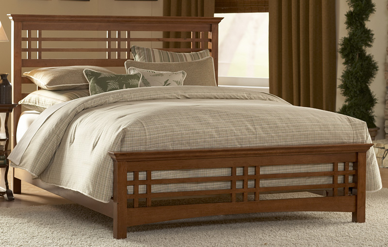 Avery classic mission style wood bed with frame cal king for Mission style bed frame plans