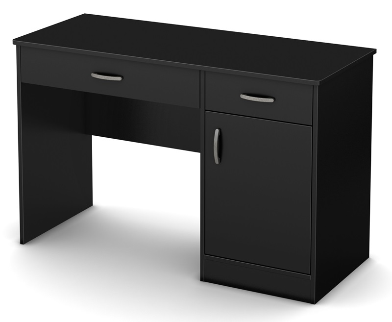 Axess Collection 2 Drawer Small Desk Pure Black 7270070
