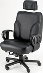 Backsaver Contoured Seat Office Chair with Adjustable Headrest - Leather [OF-BACKSVR-L-FS-ARE]
