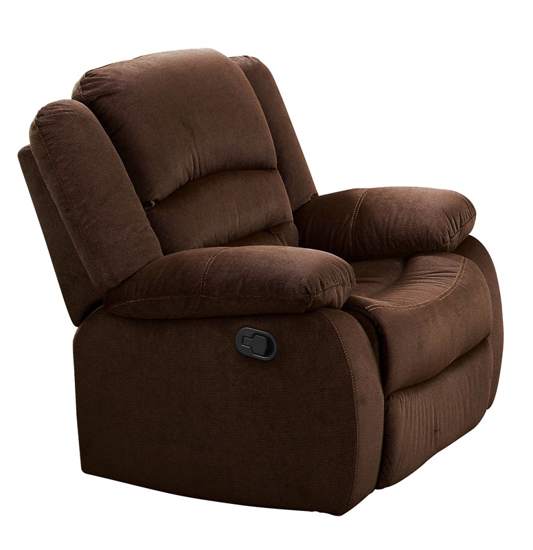 Bailey transitional style velvet rocker recliner with hand latch chocolate 51032 by acme - Stylish rocker recliner ...