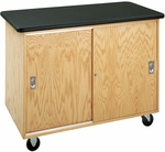 Economy Mobile Wooden Storage Cabinet with 1.25'' Thick Black Plastic Laminate Top and Locking Sliding Doors - 48''W x 24''D x 36''H [4101K-DW]