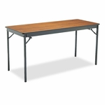 Barricks Special Size Folding Table - Rectangular - 60w x 24d x 30h - Walnut/Black [BRKCL2460WA-FS-NAT]