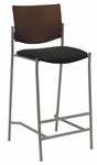 1300 Series Armless Barstool with Chocolate Wood Back - Grade 1 Upholstered Seat [BR1310SL-SP20-GR1-IFK]