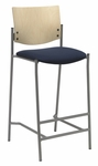 1300 Series Armless Barstool with Natural Wood Back - Grade 1 Upholstered Seat [BR1310SL-SP22-GR1-IFK]