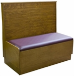 36''H Bead Board Back Single Sided Booth with Platform Upholstered Seat - Grade 4 Vinyl [AS36-WBB-PS-GR4-SAT]