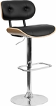 Beech Bentwood Adjustable Height Barstool with Button Tufted Black Vinyl Seat [SD-2228-BEECH-GG]
