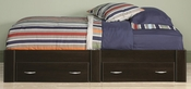 Beginnings 41''W x 13''H Wooden Twin Size Platform Bed with 2 Drawers - Cinnamon Cherry