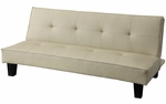Beige Tufted Vinyl Black Finish Mini Sofa Bed Lounger [922F110W-3A-FS-HOM]