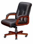 Belmont Executive Leather Mid Back Chair - Brown Cherry [7132-81-FS-DMI]