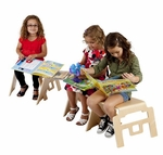 Multi-ply Birch Bentwood Space Saving Stackable Uni-Body Linking Stool [ELR-15326-ECR]