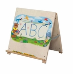 Solid Maple Big Book Tabletop Easel with Bracket on Backside - Assembled - 24''W x 16''D x 24''H [88900-WDD]