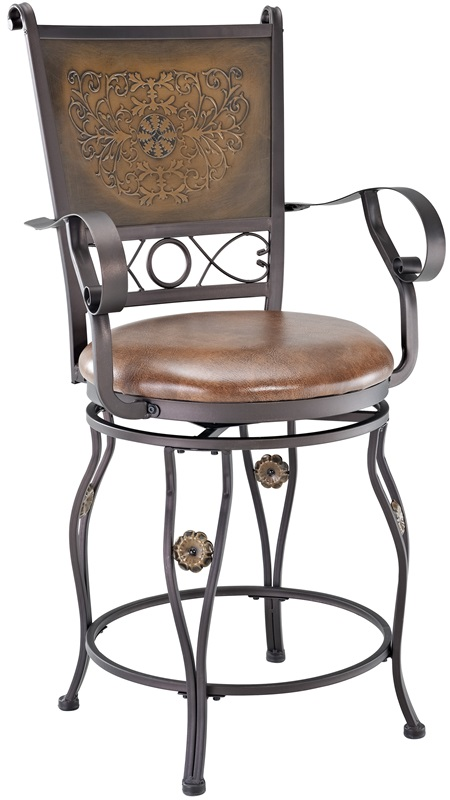 Big Amp Tall Copper Stamped Back Counter Stool With Arms