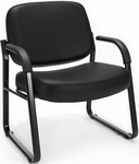 Big & Tall Guest and Reception Vinyl Chair with Arms - Black [407-VAM-606-MFO]