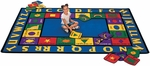 Bilingual Spanish/English Words Rectangular Nylon Rug - 70''W x 100''D [1600-FS-CAP]