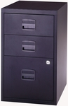 Bisley All Steel Three Drawer Locking Filing Cabinet - Black [FILE3-BK-FS-EOS]