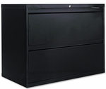 Alera® Two-Drawer Lateral File Cabinet - 36w x 19-1/4d x 28-3/8h - Black [ALELF3629BL-FS-NAT]