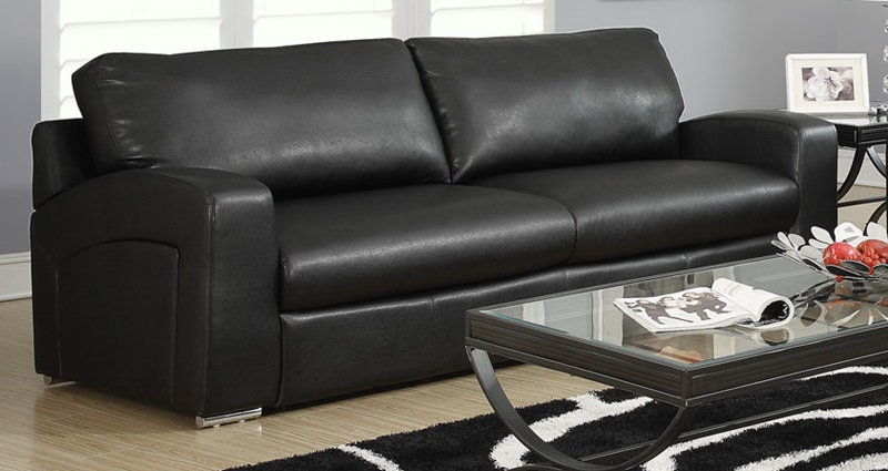 plush bonded leather and match sofa removable back