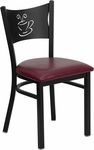 Black Coffee Back Metal Restaurant Chair with Burgundy Vinyl Seat [BFDH-88215BYFOC-TDR]