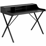 Black Computer Desk with Top Shelf [NAN-2124-GG]