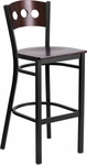 Black Decorative 3 Circle Back Metal Restaurant Barstool with Walnut Wood Back & Seat [BFDH-90336-WAL-BAR-TDR]
