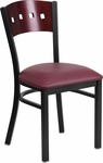 Black Decorative 4 Square Back Metal Restaurant Chair with Mahogany Wood Back & Burgundy Vinyl Seat [BFDH-90260-MAH-BY-TDR]