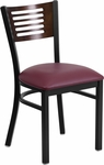 Black Decorative Slat Back Metal Restaurant Chair with Walnut Wood Back & Burgundy Vinyl Seat [BFDH-90156-WAL-BY-TDR]