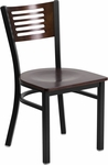 Black Decorative Slat Back Metal Restaurant Chair with Walnut Wood Back & Seat [BFDH-90156-WAL-TDR]