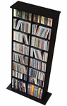 Double Multimedia Storage Tower with 14 Adjustable Shelves - Black [BMA-0320-FS-PP]