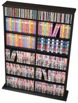 Double Width Wall Storage with 10 Adjustable Shelves - Black [BMA-0640-FS-PP]