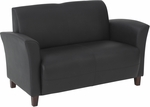 OSP Furniture Eco Leather Breeze Loveseat with Cherry Finish Legs - Black [SL2272EC3-FS-OS]