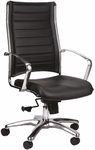 Europa High Back 22'' W x 25.5'' D x 41.5'' H Adjustable Height Leather Office Chair - Black [LE811-BLKL-FS-EURO]