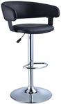Black Faux Leather Barrel & Chrome Adjustable Height Bar Stool [212-915-FS-PO]