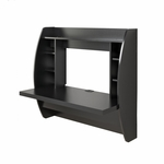 Floating 42.25''W Desk with 7 Open Storage Compartments - Black [BEHW-0200-1-FS-PP]