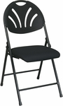 Work Smart Plastic Folding Chair with Fan Back and Padded Mesh Seat - Set of 4 - Black with Black Frame [FC8100NP-3-OS]