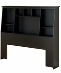 Full/Queen Size Slant-Back Bookcase Headboard with 8 Storage Compartments - Black [BSH-6656-FS-PP]